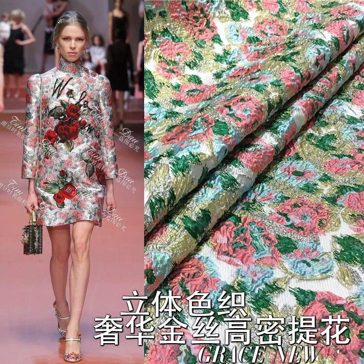 유럽과 미국에 수출 고급 자카드 직물 입체 자카드 염색 자카드 패션 패브릭 드레스