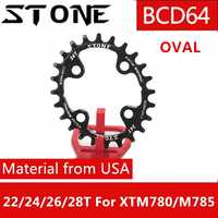 Stone Chainring 64 BCD Oval for Shimano XTM780 M785 22T 24t 26t 28T tooth MTB Bike Chainwheel Tooth Plate 64bcd