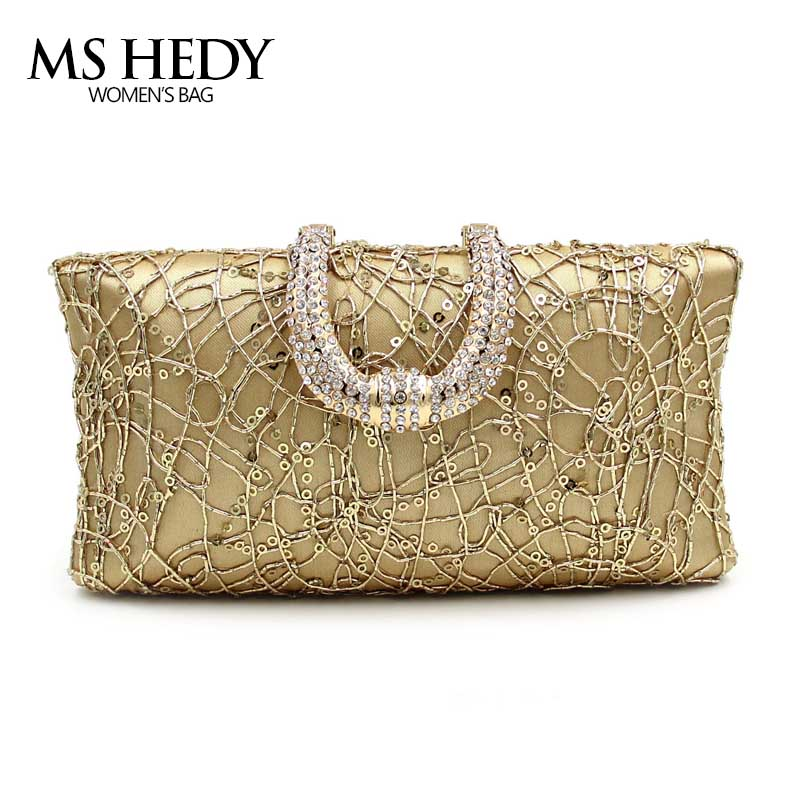 Fashion Women Lace Sequins Handbag Diamond Clutch Evening Bag Shoulder Chain Bracelet Purse For Wedding/Party/Dinner Day Clutch new women s retro hand beaded evening bag wedding bridal handbag chain shoulder bag stitching sequins diamond stone day clutches