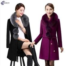 TNLNZHYN clothin quente casaco De Lã Das Mulheres inverno NEW high-end da moda tamanho grande engrossar gola De Pele de Lã feminino Outerwear QQ505