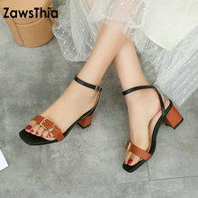 ZawsThia 2019 fashion white summer shoes for woman open toe buckle strap block  high heeled sandals 003823e51cd3