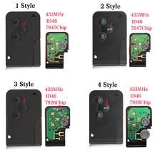 Автомобильный ключ OkeyTech ID46, 3 кнопки, 433 МГц, PCF7926, PCF7947, аварийный смарт ключ для Renault, ключ Megane 2, Scenic Card II Grand