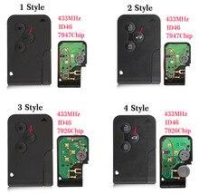 OkeyTech carte clé télécommande intelligente à 3 boutons, 433Mhz, transpondeur id46 pcf7926/PCF7947, pour voiture Renault Megane 2, Scenic, Grand II