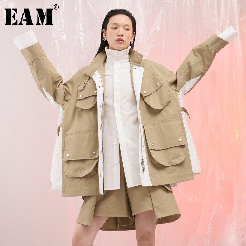 EAM 2019 New Spring Lapel Long Sleeve Side White Split Joint Big Pocket Loose Big