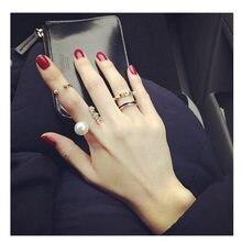 AOMU 1 комплект, корейское кольцо с искусственным жемчугом, стразы, модное кольцо с увеличенным отверстием, регулируемое кольцо для женщин, ювелирный набор