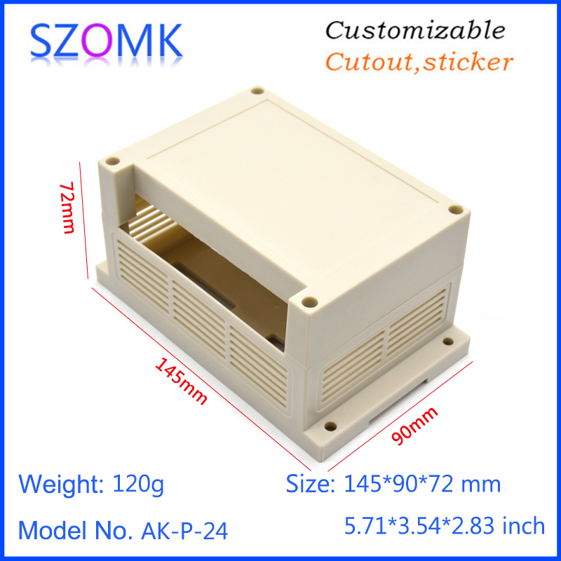 1 pcs, 145*80*72mm szomk plastic box for electronics project din rail enclosure cabinet abs case wall mounting plastic box