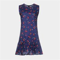 Customize New Women's Fruits Printed Pleated Short Dresses Girls Cute Beach Mini Summer Dress Cherry Lemon Pattern Vestido