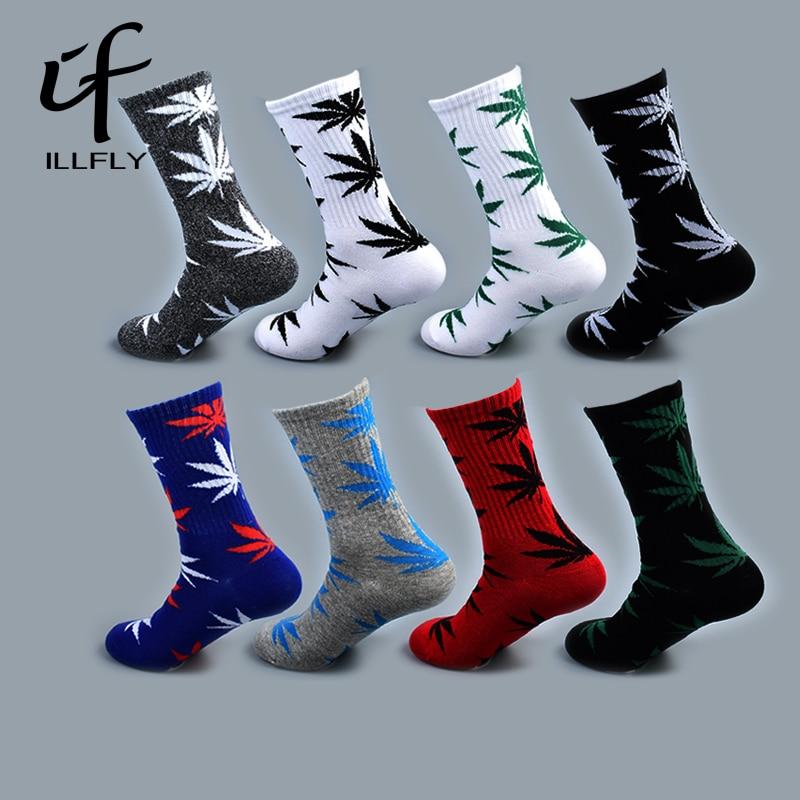 5 Pairs Long Bamboo Men's Funny Ankle   Socks   Hemp Meias Happy Maple Leaf sokken Cotton Weed Men Grass White Man Socken skarpetki