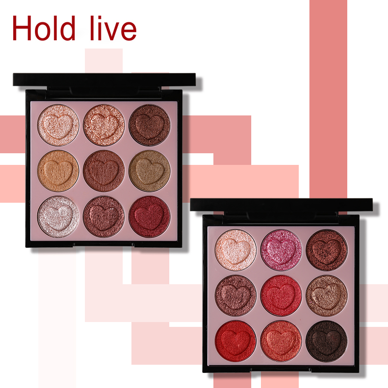Hold Live 9 Colors Intense Crystal Diamond Cream Eyeshadow Palette Glitter Shimmer Heart Shaped Eye Shadow Makeup Smooth Eyes 1