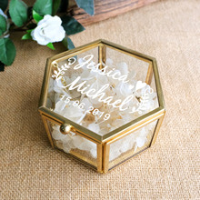 Peraonalized Hochzeit Geschenk Glas Hochzeit Ring Box Geometrische Ring Bearer Box Antiqued Blume Glas Ring Halter