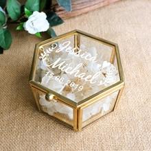 Peraonalized Wedding Gift Glass Wedding Ring Box Geometric Ring Bearer Box Antiqued Flower Glass Ring Holder