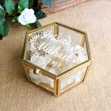 Peraonalized di Vetro Regalo di Nozze Anello di Cerimonia Nuziale Scatola Geometrica Ring Bearer Box Anticato Fiore di Vetro Anello di Supporto