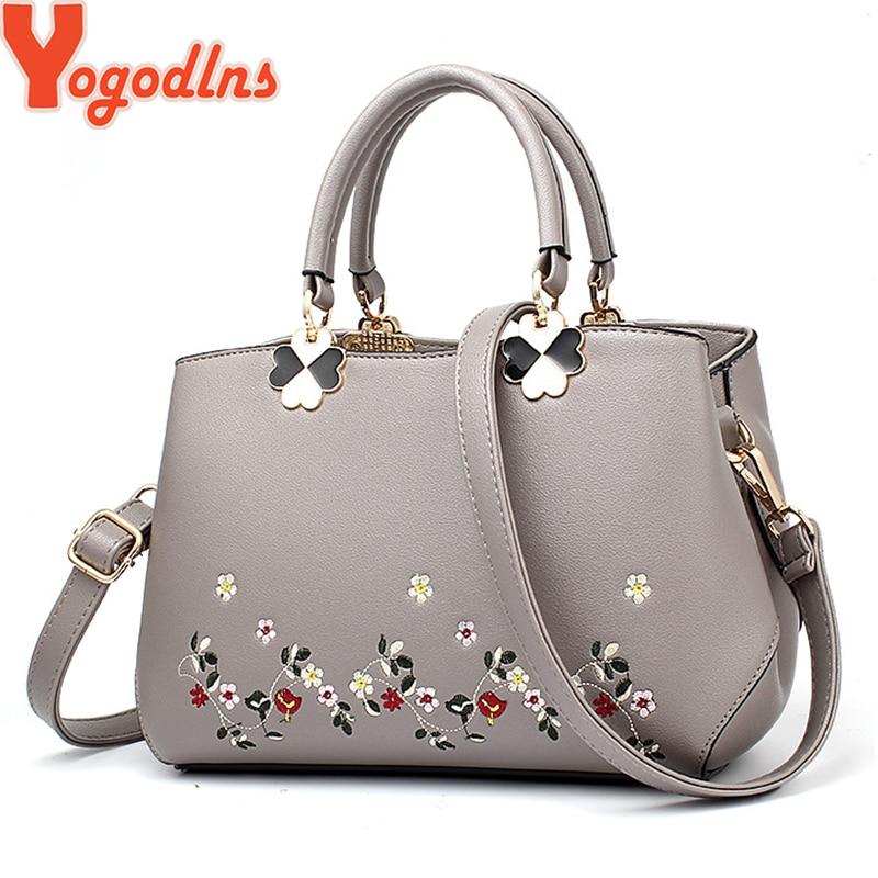 Yogodlns 2019 Fashion Handbags Women Messenger Bag Female PU Leather Shoulder Bag Women's Embroidery Flower Handbag Sac A Main