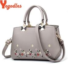 Yogodlns 2020 bolsas de moda feminina mensageiro bolsa feminina couro do plutônio bolsa de ombro bordado flor bolsa sac a principal