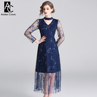 spring summer woman dress star pattern embroidery dark blue gauze dress hollow out collar choker transparent calf length dress