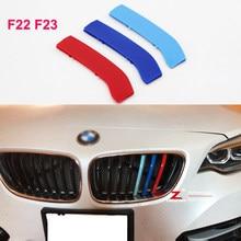 3D Listras Grade Dianteira Grill M Tiras Capa Motorsport Adesivos Para BMW série 2 F22 F23 218i 220i 225i 228i coupe Convertible