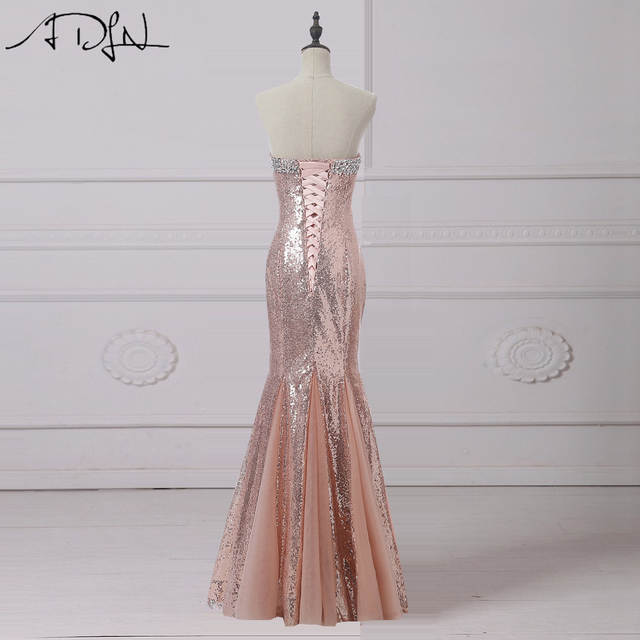 placeholder ADLN Rose Gold Sequin Evening Dresses Long Sweetheart Sleeveless  Crystals Mermaid Prom Gown Bling Party Wear 0d6e6e9585df