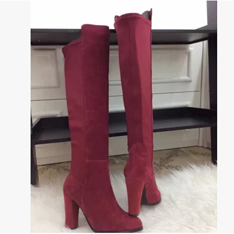 New fashion women knee high boots sexy thick high heels platform suede leather Pump Boots slim fit ladies long boots shoes hot sale fashion long boots for women nubuck leather sexy high heels over the knee boots shoes ladies platform boots cn a0012
