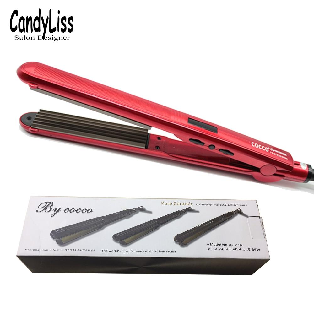 Купить с кэшбэком 2019 New Professional LCD Display Hair Straightener Corn Wave Plate Electric Hair Crimper Small Waver Corrugated Flat Iron