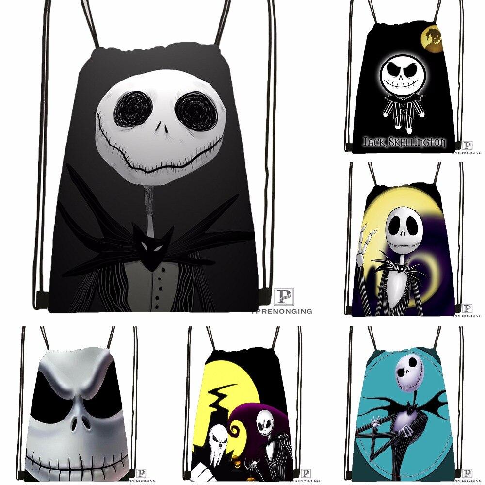 Custom Jack Skellington Drawstring Backpack Bag Cute Daypack Kids Satchel (Black Back) 31x40cm#180531-02-16