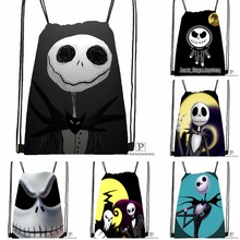 Custom Jack Skellington Drawstring Backpack Bag Cute Daypack Kids Satchel (Black Back) 31x40cm#180531-02-16