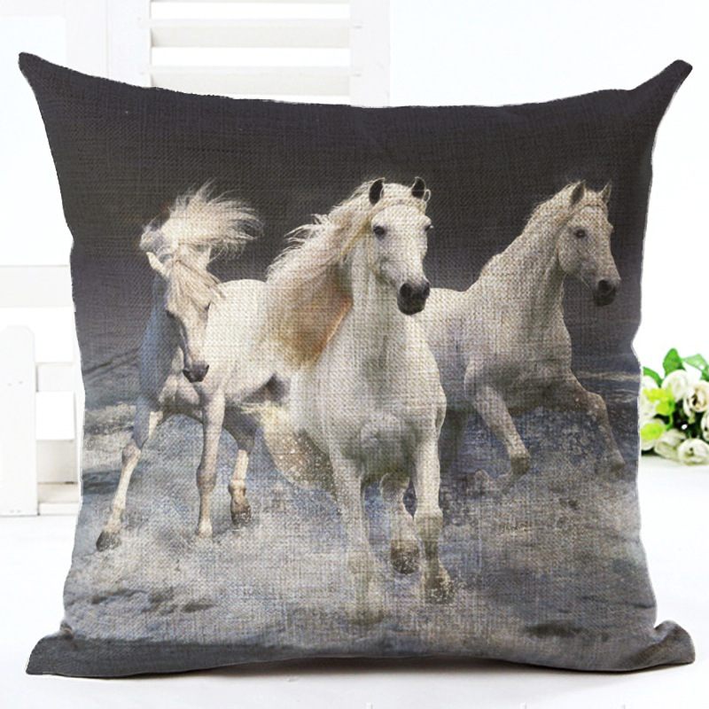 New Animal Square Pillowcase Running Horse Cushion Cover Throw Pillowcase For Car Seat Sofa Office Home Decor F