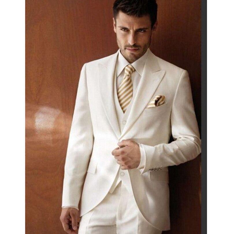 Gentleman Style Custom Ivory Wedding New Lang Groomsman Suit 3 Pieces Slim Men's Wedding Suit Formal Business Suit