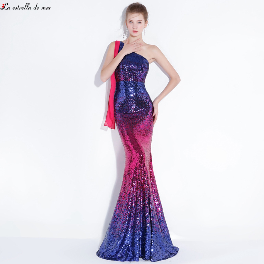 Vestido madrinha new one shoulder gradient sequins sexy mermaid rainbow color   bridesmaid     dress   long plus size abito damigella