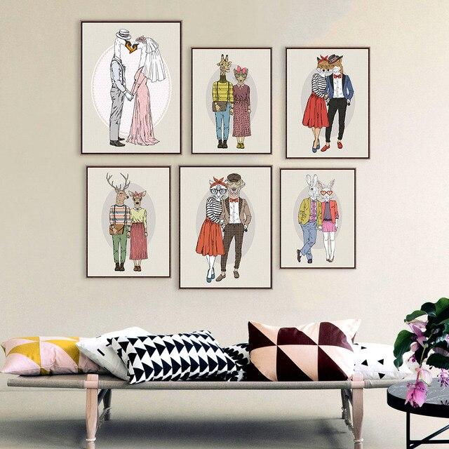 Мода Животных Олень Жираф Свадебные Украшения A4 Большой Арт Принт Афиша Пара Уолл Аватар Холст Картины Без Рамки Home Decor