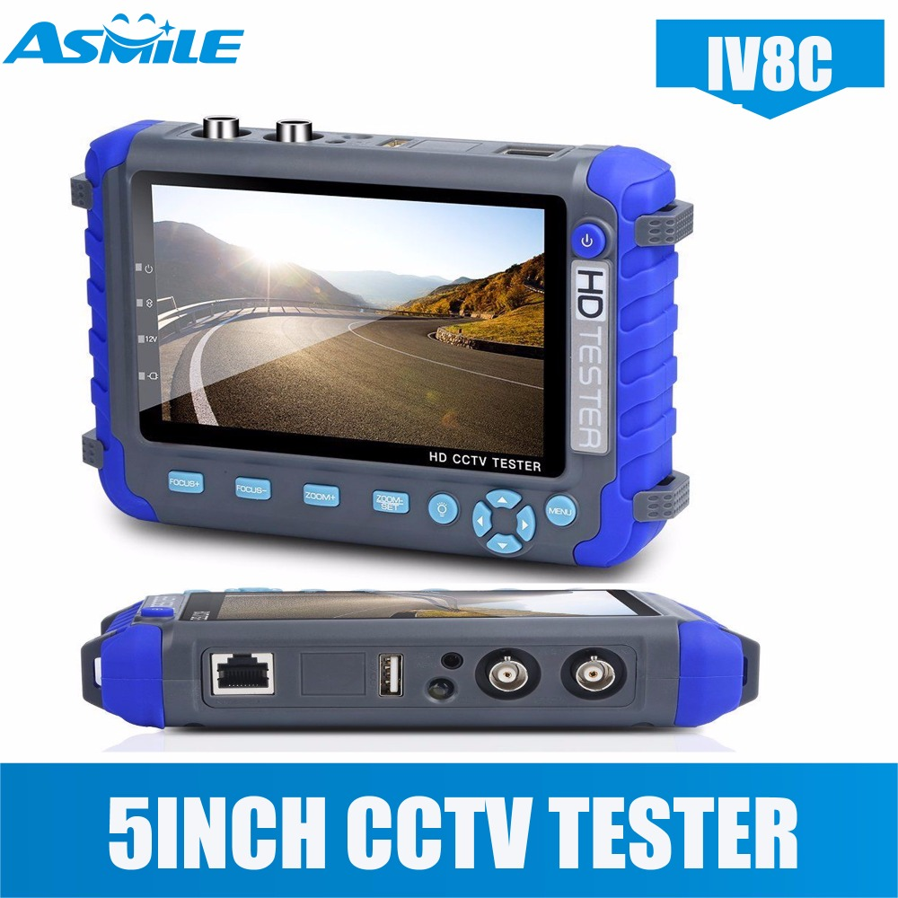 5 Inch IV8C Camera Tester CCTV Tester AHD TVI CVI HD Coaxial Tester Video Monitor Tester ct 100 2 8 high brightness led monitor cctv installation mate camera video tester black