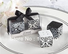 Free shipping 100sets/lot=200pcs/lot wedding favor Black and White Damask Ceramic Salt and Pepper Shakers bridal shower