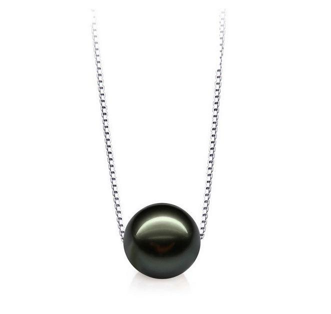 Énorme tahiti Naturel veritable noir parfait perle ronde collier pendentif AA