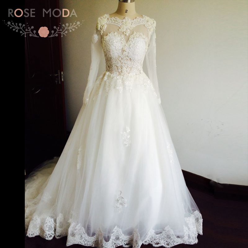 See Through Back Sexy Illusion Top Pearls Lace Ball Gown