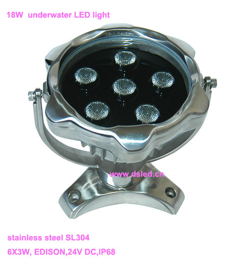 IP68,DMX compitable,high power 18W outdoor RGB LED spotlight, LED projector light,24V DC, DS-10-9-18W-RGB,6X3W RGB 3in1