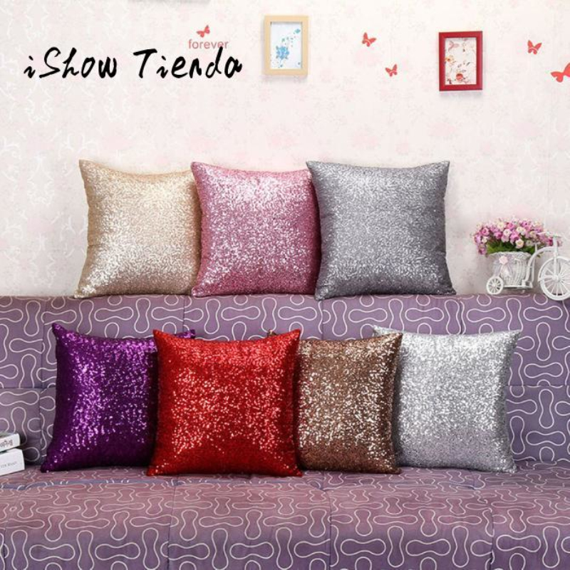 ISHOWTIENDA Glitter Sequin Cushion Cover Car Seat Magical Throw Pillowcase 40cmX40cm Color Changing Reversible Pillow Case Cafe