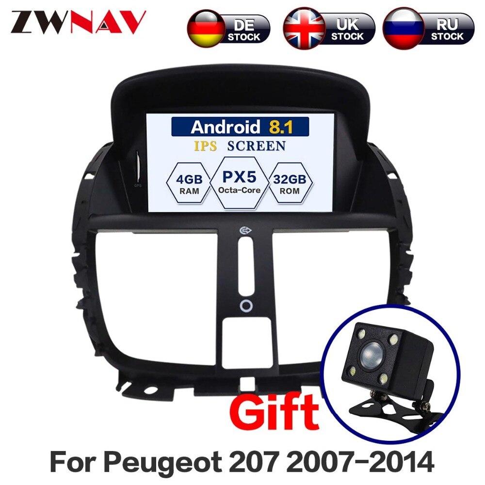 Android 8.0 lecteur dvd de Voiture pour Peugeot 207 2007-2014 GPS Navigation Radio Stéréo Bluetooth USB Multimédia Carte Gratuit et Caméra
