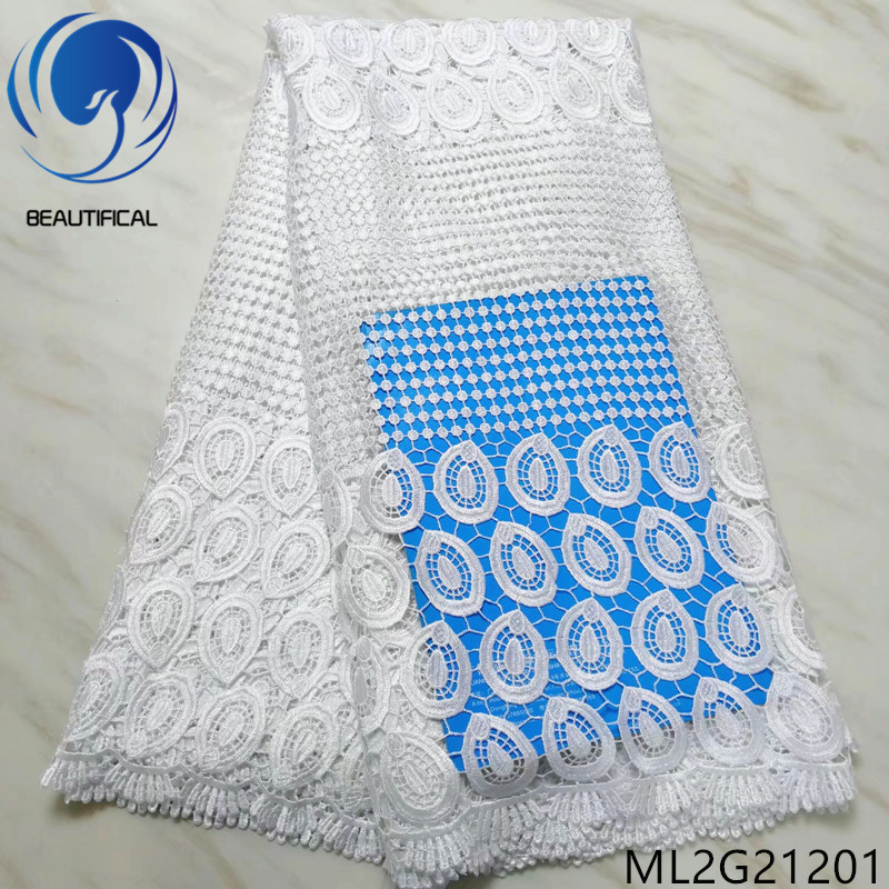 BEAUTIFICAL White african fabrics guipure lace fabric 5yards Hot sale ngerian chemical lace fabric for wedding dress ML2G212