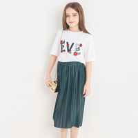Girls Clothes Set White Tee Shirt Pleated Green Skirt Kids Summer Children's Sets Two piece Fresh Style for Teen Girl 11 12 13