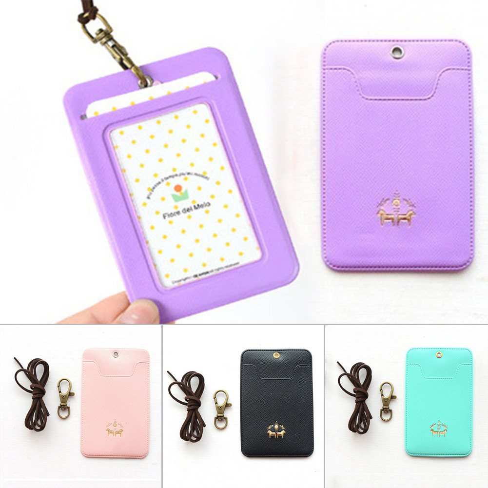 PU Leather Lanyard Women Card Case Holder Portable String Fashion ID Bus Identity Badge With Lanyard Porte Carte Credit