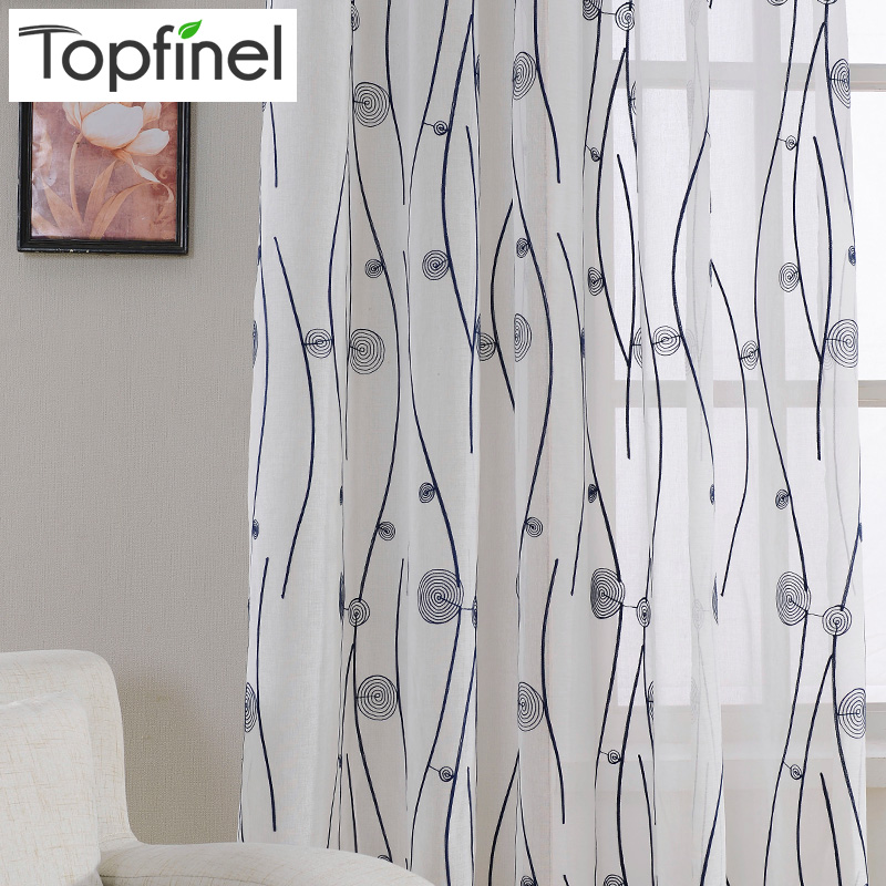 Top Finel Natural Embroidered Sheer Curtains For Living Room Bedroom Elegant Yarn Embroidery White Voile