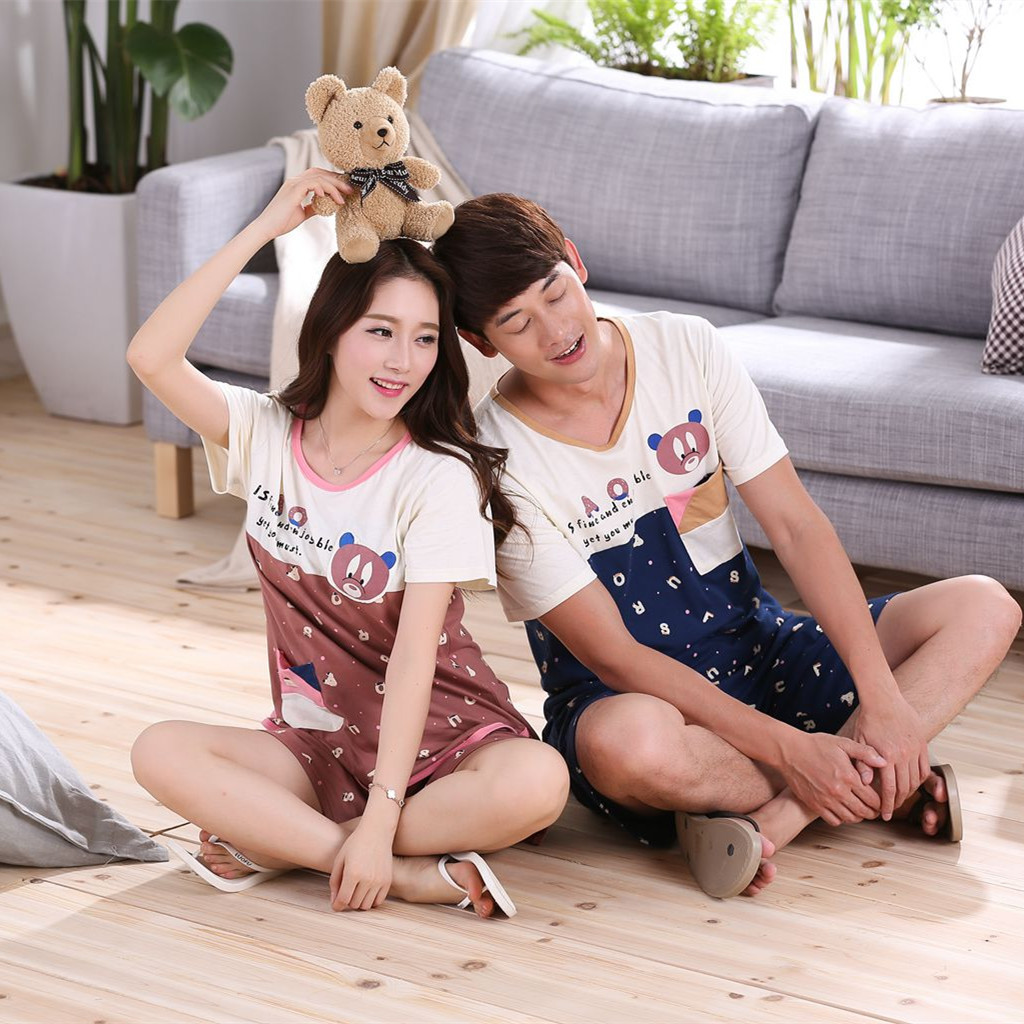 Milk silk couples short sleeves pajamas sets cute cartoon lovers suit men and women leisure home clothing free shipping