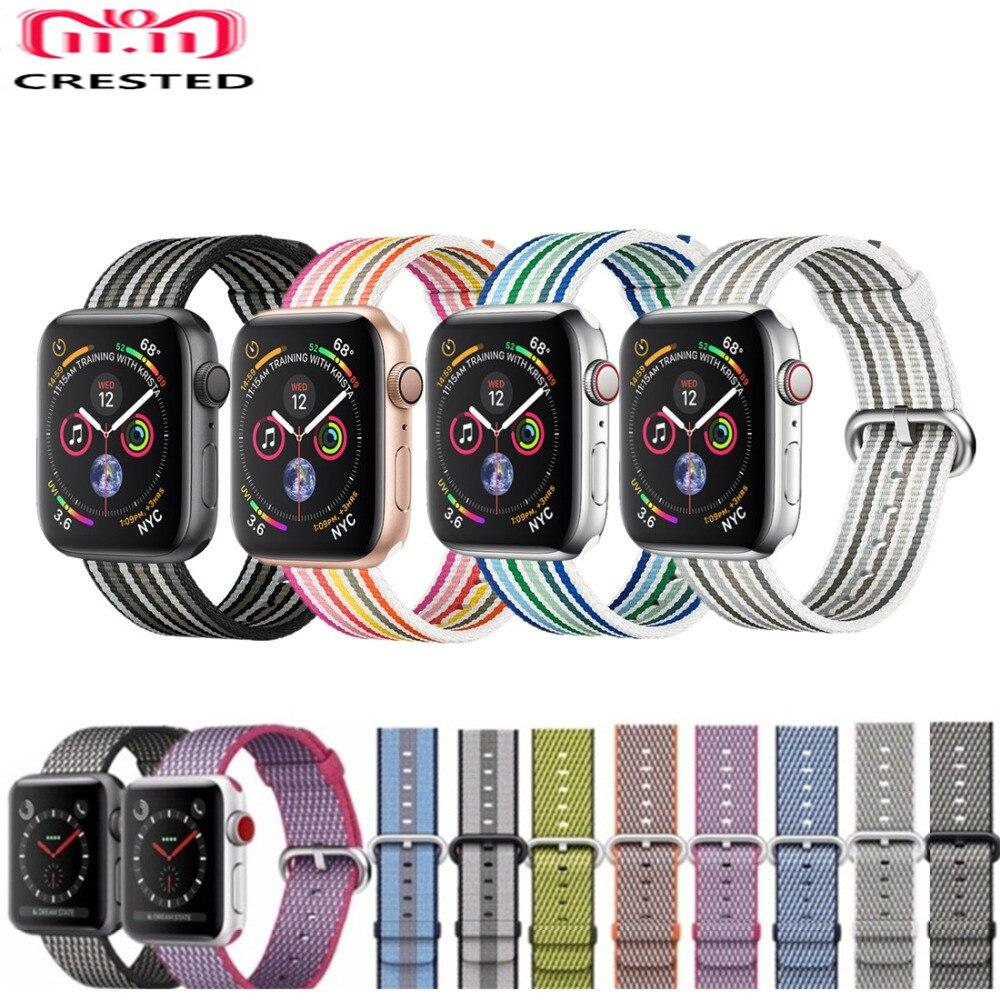 CRESTED Strap Für Apple Uhr band 4 42mm/38mm iwatch 3 band 44mm 40mm correa woven Nylon handgelenk armband gürtel uhr Zubehör