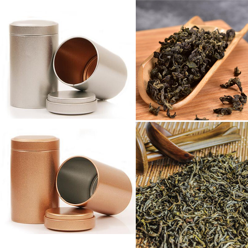 Tea-Tin-Box-Storage Cylinder Metal-Box Square Coffee Small Sealed-Cans Beautiful 65--45mm