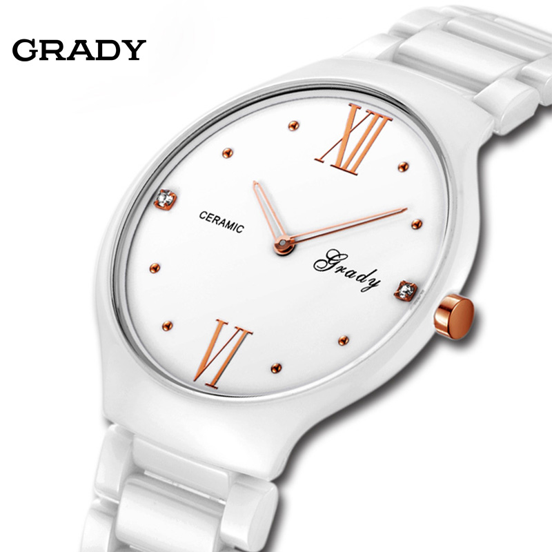 Funny Christmas Gift Grady Ultra thin ceramic watches men black white waterproof fashion brief male watches