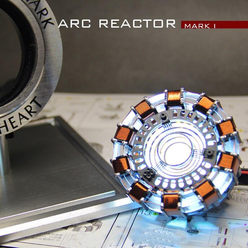 Avengers Iron Man 1/1 Échelle Télécommande Arc Reactor DIY Métal Modèle Action Figure Rougeoyant Iron-Man Réacteur Jouet cosplay Cadeau