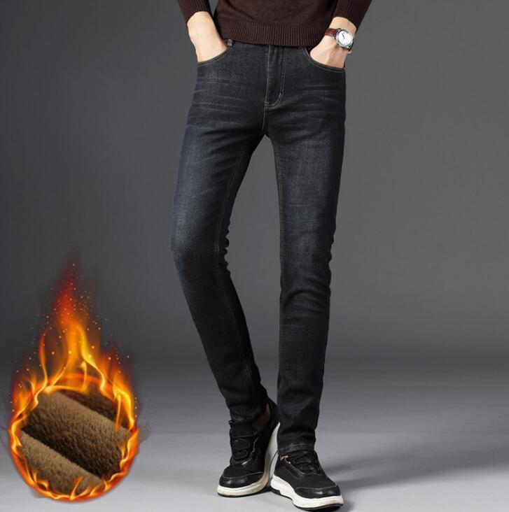 2018 Стильные теплые зимние мужские повседневные джинсы Лидер продаж стрейч брюки мужские Бесплатная доставка