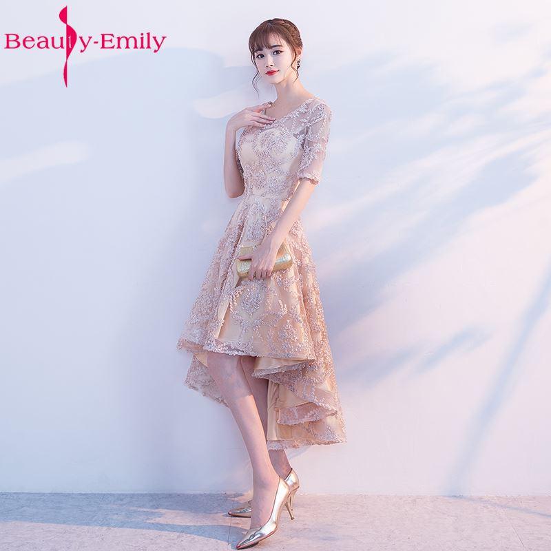Beauty Emily New Fashions Asymmetrical Short Sexy Party   Prom     Dresses   2018 Homecoming   Dresses   O-Neck Three Quarter Formal   Dresses