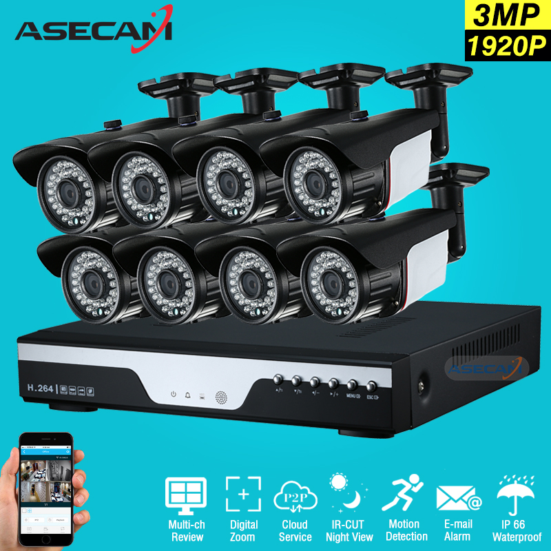 New 8ch HD 1920p CCTV Camera DVR Video Recorder AHD Outdoor Black Bullet 3mp Security Camera System Kit Surveillance Email alert 3mp hd full 1920p system security camera white metal bullet cctv day night surveillance ahd camera waterproof 24led infrared