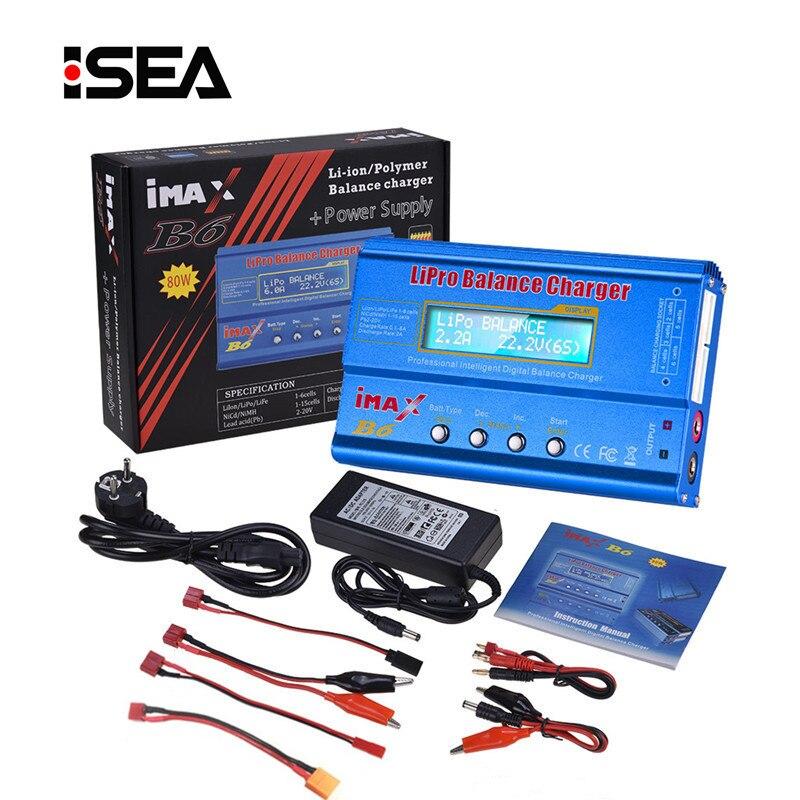 HTRC iMAX B6 80 W 6A cargador de batería Lipo NiMh Li-Ion Ni-Cd Digital RC IMAX B6 Lipro balanaza cargador de + 15 V 6A adaptador