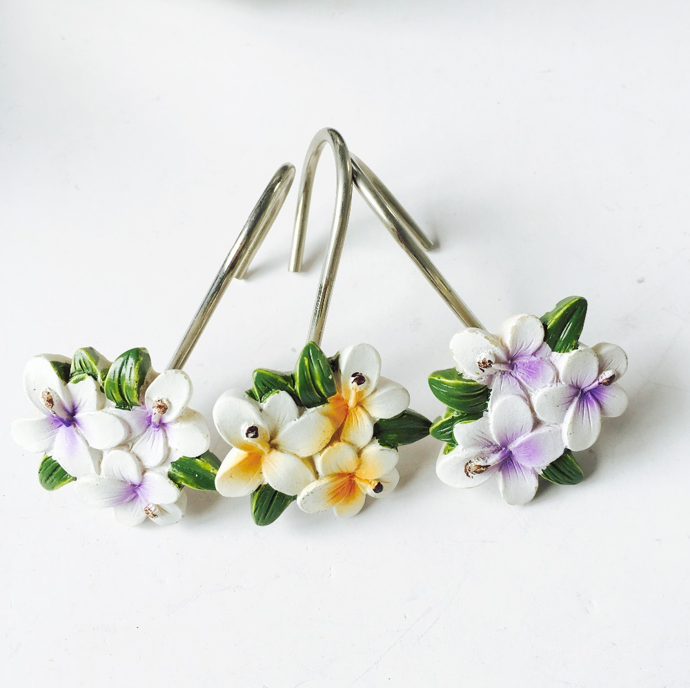 Free Shipping 12pcs Bag European Fashion Purple Flowers Resin Shower Curtain Hooks Home Decorative